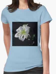 White shiny Flower Womens Fitted T-Shirt