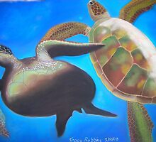 Play- Sea Turtles playing in the deep. by Tracy Robbins