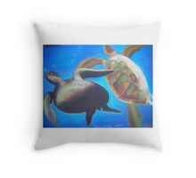Play- Sea Turtles playing in the deep. Throw Pillow