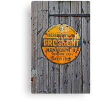 Grosmont - AA Abergavenny, old Enameled sign, Wales, Monmouthshire  Canvas Print