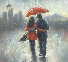 SEATTLE LOVERS IN THE RAIN by VickieWade