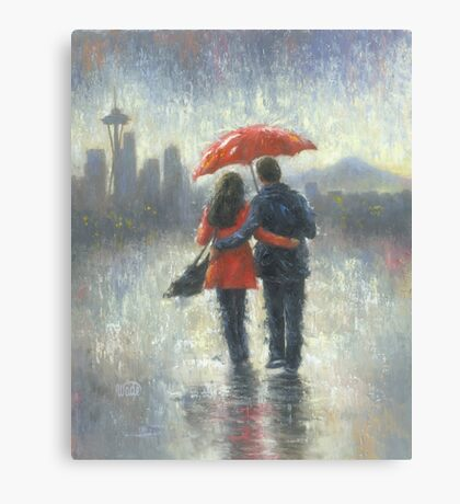 SEATTLE LOVERS IN THE RAIN Canvas Print