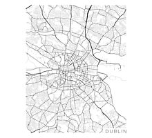 Dublin Map, Ireland - Black and White Photographic Print