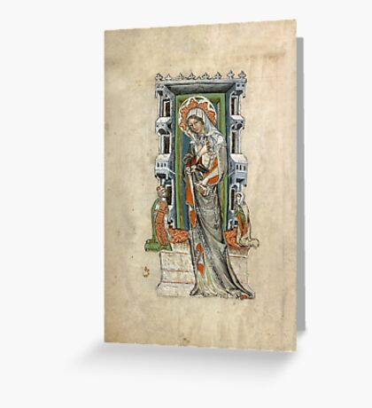 Medieval Miniature - Saint Hedwig of Silesia with Duke Ludwig of Legnica and Brieg and Duchess Agnés (1353 AD) Greeting Card