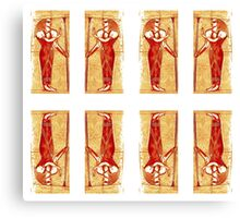 Egyptian Priests In White Red and Gold II Canvas Print