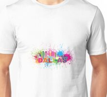 Dallas Skyline Paint Splatter Color Illustration Unisex T-Shirt