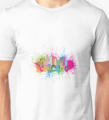 Chicago Skyline Paint Splatter Abtract Illustration Unisex T-Shirt