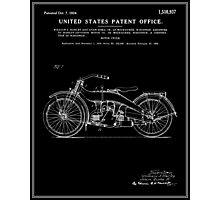 Motorcycle Patent - Black Photographic Print