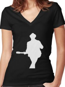 Patrick Stump White Silhouette Women's Fitted V-Neck T-Shirt