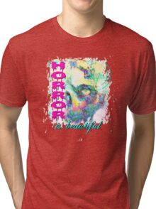 HORROR IS BEAUTIFUL - zombie face Tri-blend T-Shirt