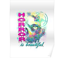 HORROR IS BEAUTIFUL - zombie face Poster