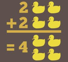 duckling 2 plus 2 with numbers One Piece - Short Sleeve
