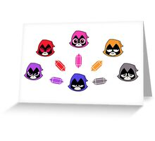 The Many Colors of Raven Vector Greeting Card