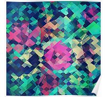 Fruity Rose - Fancy Colorful Abstraction Pattern Design (green pink blue) Poster