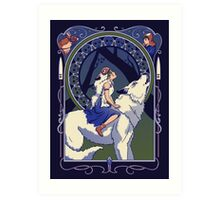 Wolf Princess Nouveau Art Print