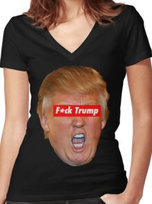 F*ck Trump  Women's Fitted V-Neck T-Shirt