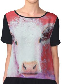 White Cow painting on red background Chiffon Top