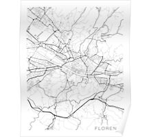 Florence Map, Italy - Black and White Poster