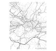 Florence Map, Italy - Black and White Photographic Print