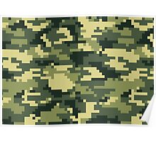 8 Bit Pixel Woodland Camouflage Poster