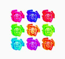 Multi-coloured fractal roses - rainbow flower pattern Unisex T-Shirt