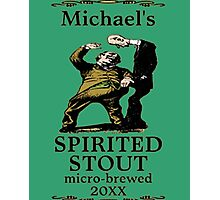 funny vintage spirited stout beer label Photographic Print