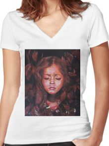 Hiding Within - original acrylic painting Women's Fitted V-Neck T-Shirt
