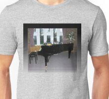 As Shadows Fall - Grand Piano In Reflection Frame Unisex T-Shirt