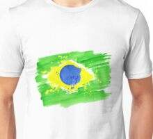 background watercolor stains. Hand-drawn texture. Brazilian flag made of colorful splashes Unisex T-Shirt