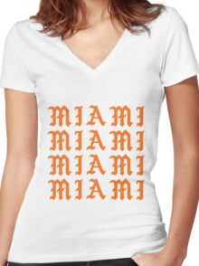 LIFE OF MIAMI  Women's Fitted V-Neck T-Shirt