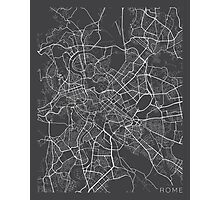 Rome Map, Italy - Gray Photographic Print