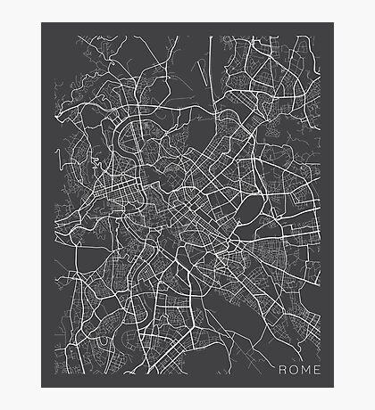 Rome Map, Italy - Gray Photographic Print