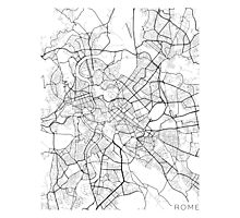 Rome Map, Italy - Black and White Photographic Print