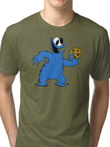 Cookie Monster with cookie Tri-blend T-Shirt