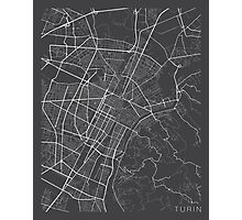 Turin Map, Italy - Gray Photographic Print