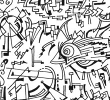 Abstract Composition #4 black lines Sticker