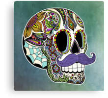 Mustache Sugar Skull (Color Version) Canvas Print