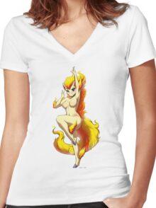 Ponyta Pose Women's Fitted V-Neck T-Shirt