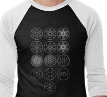 13 Circles [White] | Sacred Geometry Men's Baseball ¾ T-Shirt
