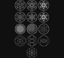 13 Circles [White] | Sacred Geometry Men's Baseball ¾ T-Shirt