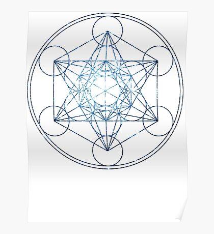 Metatron's Cube [The Blue Stars]   Sacred Geometry Poster