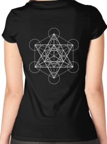 Metatron's Cube + Star of David | Sacred Geometry Women's Fitted Scoop T-Shirt