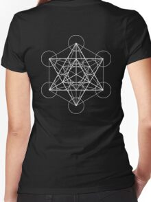 Metatron's Cube + Star of David | Sacred Geometry Women's Fitted V-Neck T-Shirt