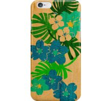 Limahuli Garden Faux Wood Hawaiian Surfboard - Teal and Lime iPhone Case/Skin