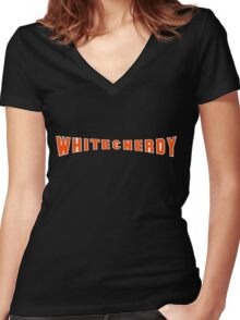 White and Nerdy! Women's Fitted V-Neck T-Shirt