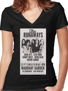 The Runaways Vintage Poster Women's Fitted V-Neck T-Shirt