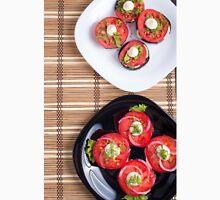Vegetarian dish of stewed eggplant and fresh tomatoes Unisex T-Shirt