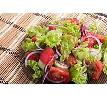 Fragment of vegetarian salad from fresh vegetables closeup Photographic Print