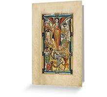 Saint Michael Battling the Dragon (1170 AD) Greeting Card