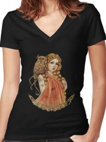 Blodeuwedd Owl Maiden Women's Fitted V-Neck T-Shirt